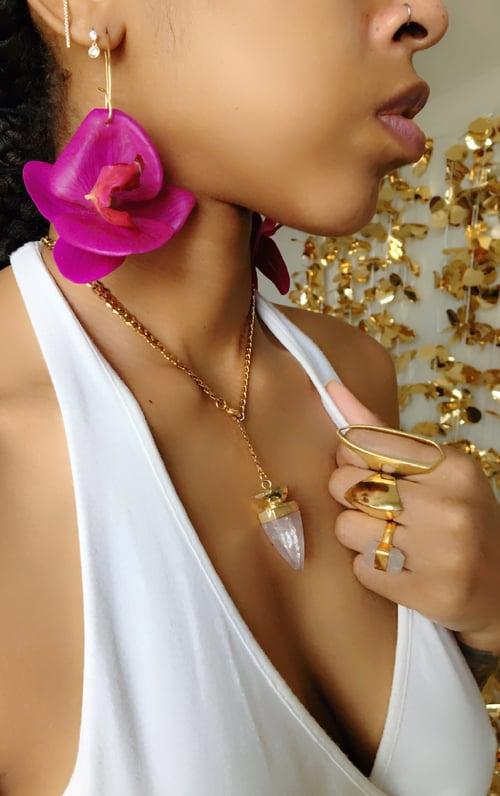 Image of LAST CHANCE :: FLOWER GANG Purple Orchid Earrings