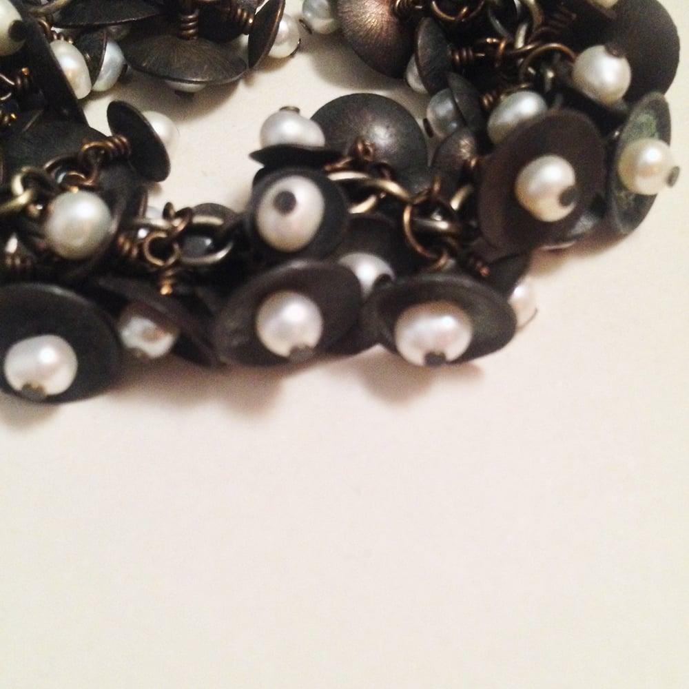 Image of Queen of Swords Tarot Handmade Brass White Freshwater Pearl Bracelet | Witches Bells Avant Garde
