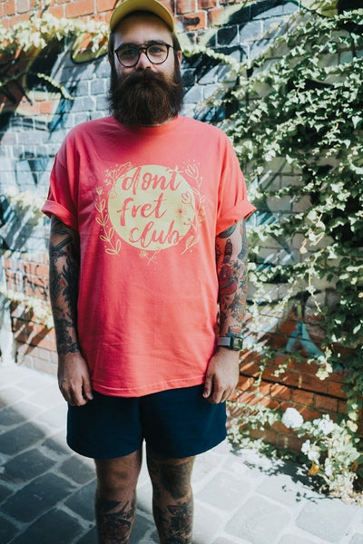 Image of Don't Fret Club T-shirt (Front logo Yellow on Coral)