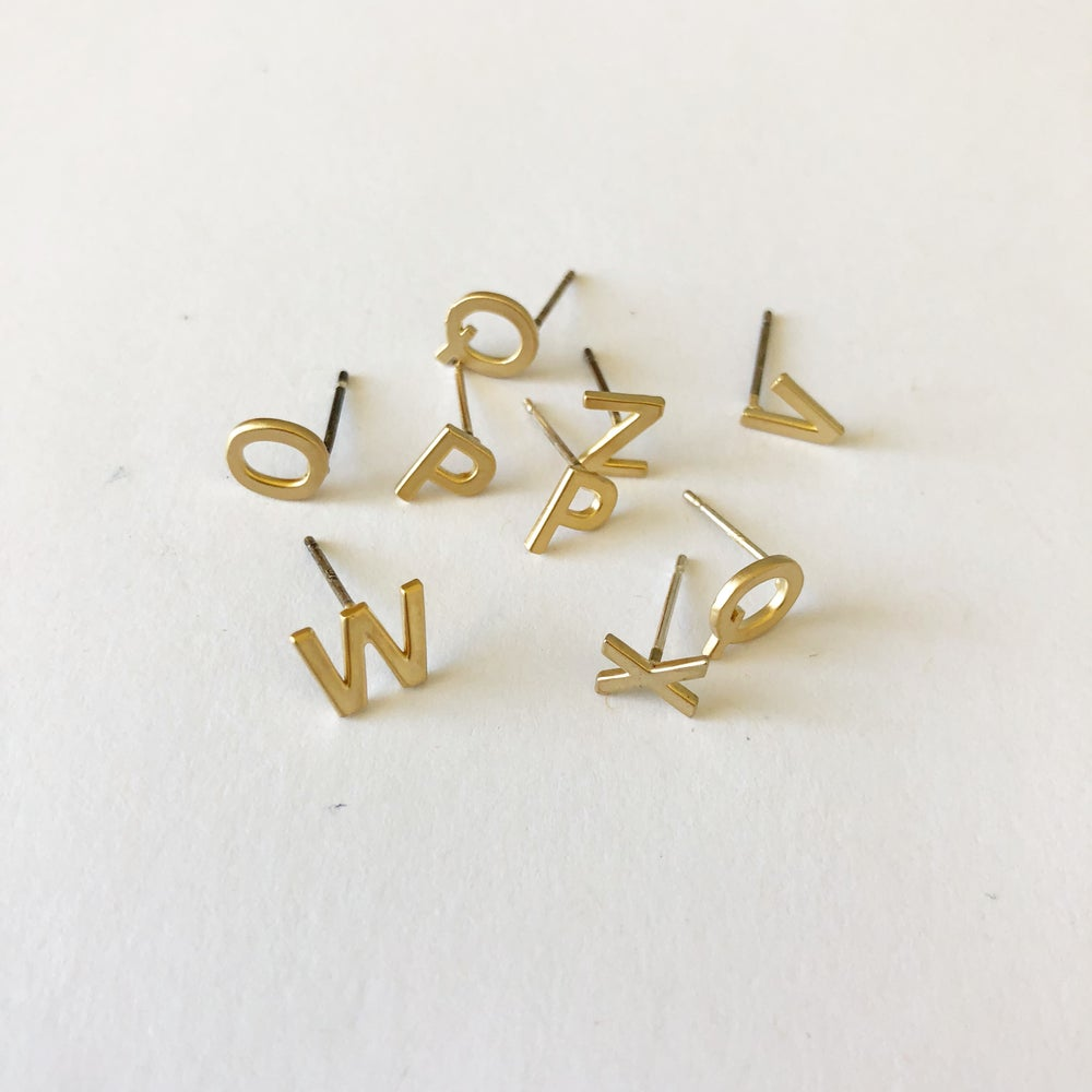 Image of Upper case letter initial earrings