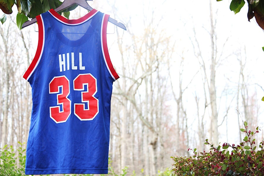 "Image of Rare 90's Vintage Champion ""GRANT HILL Detroit Pistons"" Basketball Jersey Sz: 36"