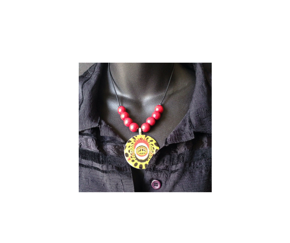 Image of Red and Yellow Bead Necklace Mask