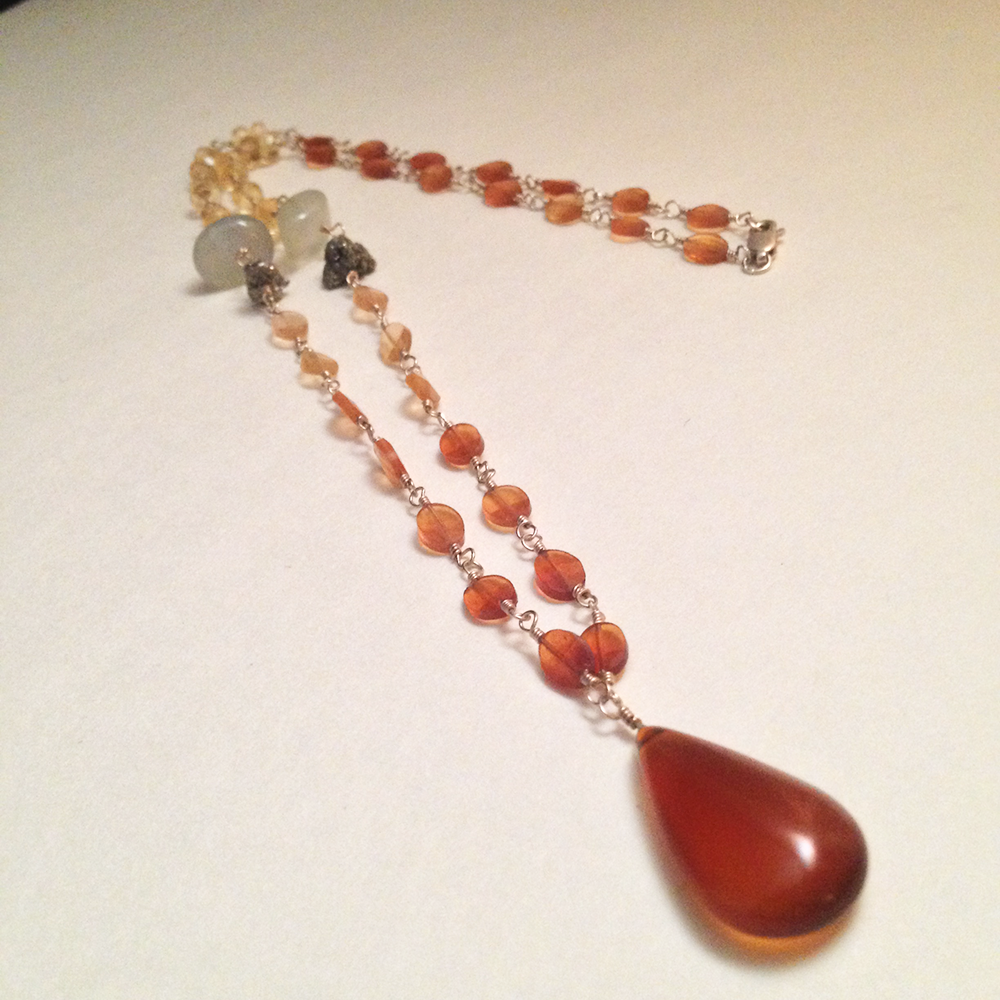 Image of Ace of Swords Chalcedony Hessonite Garnet Sterling Silver Natural Gemstone Necklace | Handmade