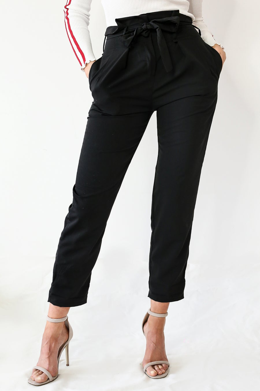 Image of groovy feeling black tapered trousers by TLO