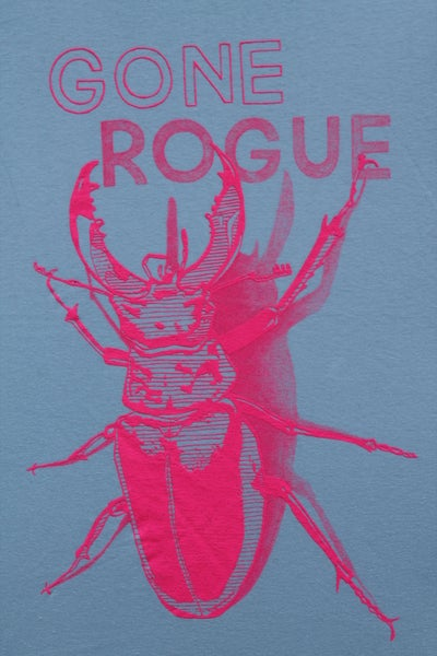 Image of Gone Rogue T-SHIRT, light blue & neon pink