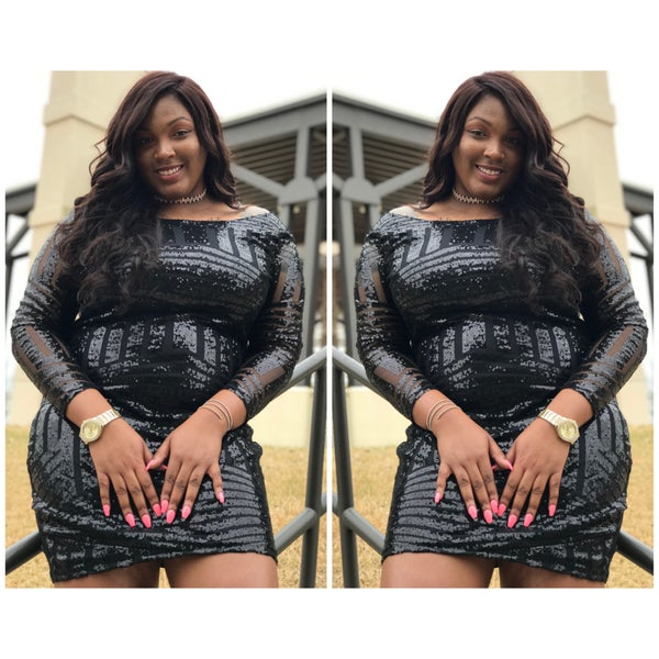 Black Waves Dress - Plus Size Fashionz