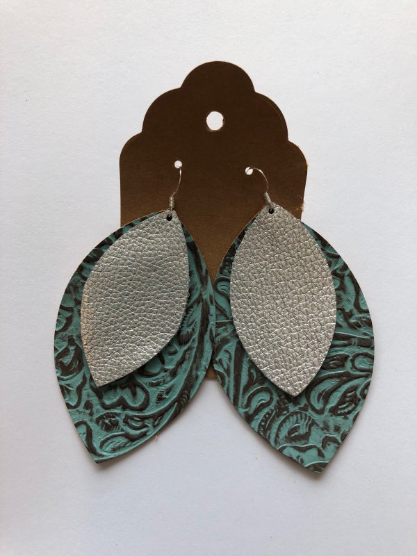 Image of Leather Earrings - Embossed Turquoise and Silver Double Leaf
