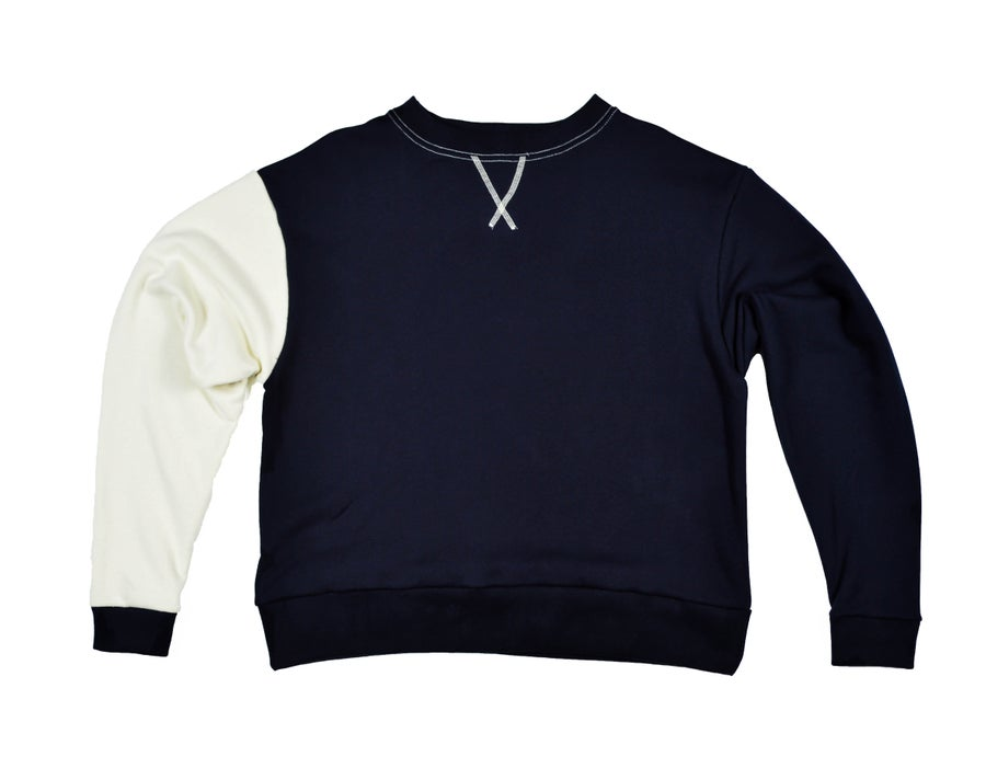 Image of Box Crewneck - Space Blue/Neutral