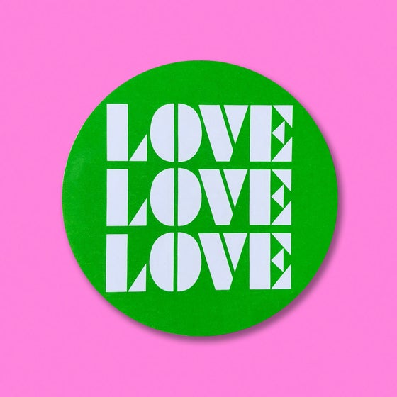 "Image of ""LOVE, LOVE, LOVE"" STICKER 3-PACK."