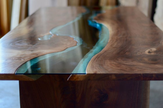 "Image of 105"" claro walnut river dining table"