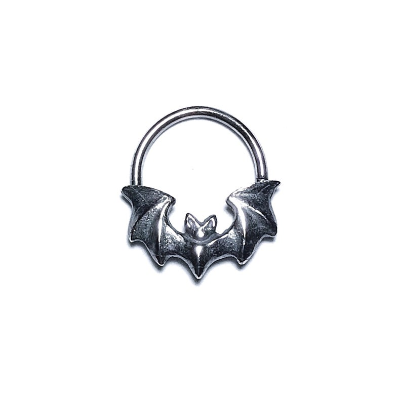 Image of Mini Vampira septum ring / earring in oxidized sterling silver