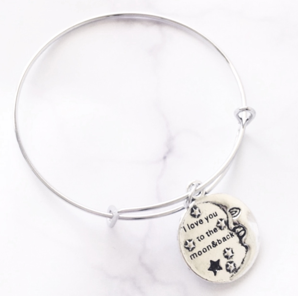 Image of I LOVE YOU TO THE MOON & BACK SILVER BANGLE BRACELET