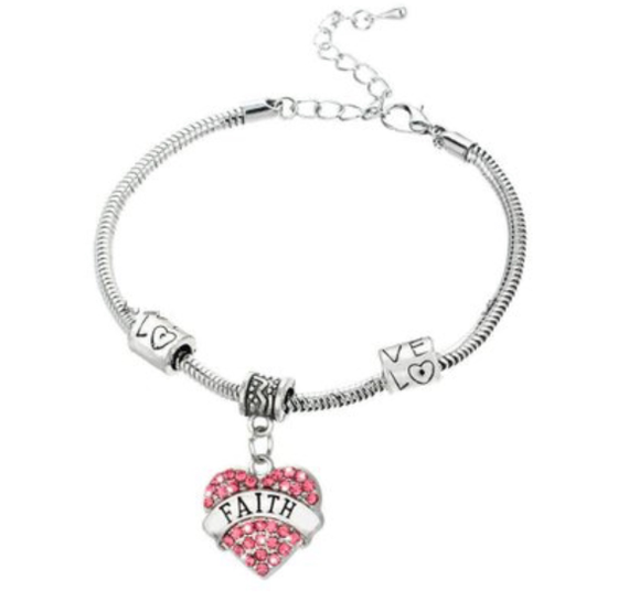 Image of FAITH RHINESTONE HEART INSPIRATIONAL BRACELET