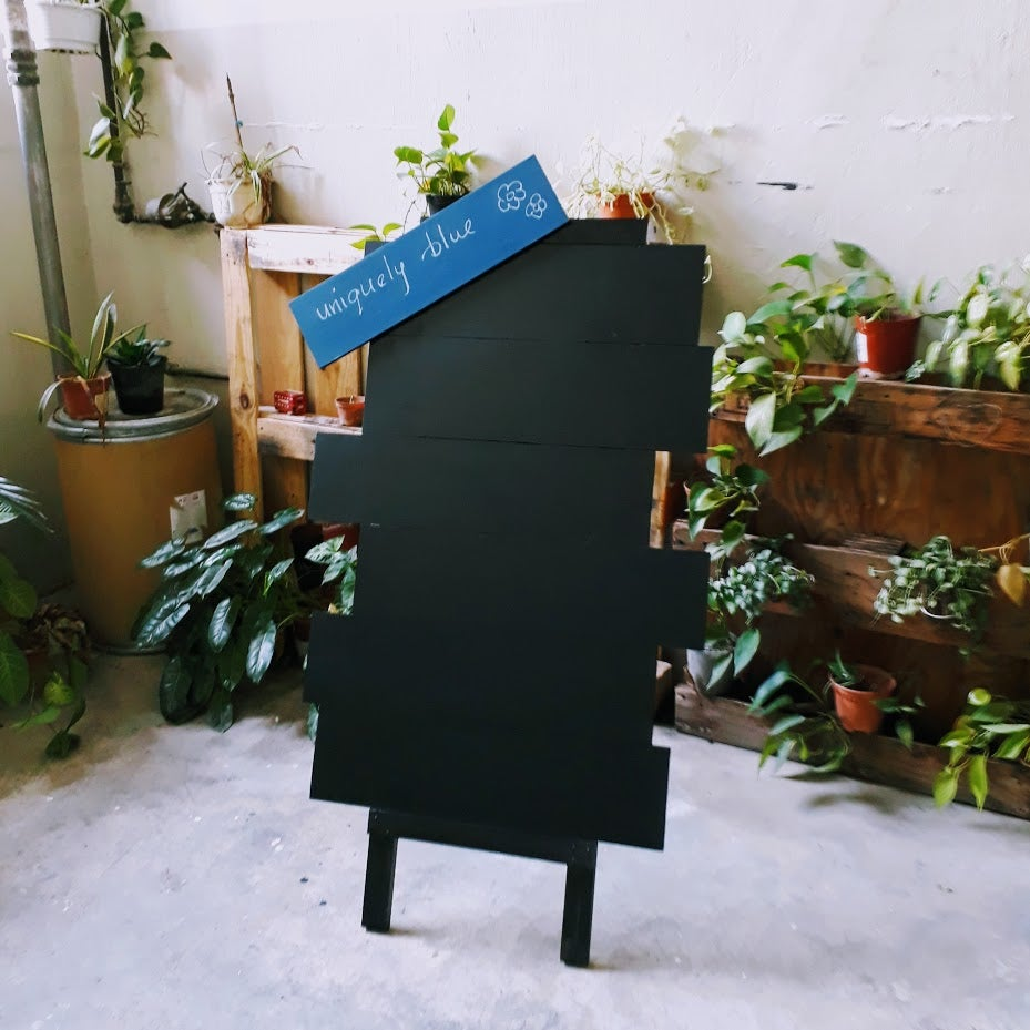 Image of Uniquely Blue Single Sided Standing Chalkboard
