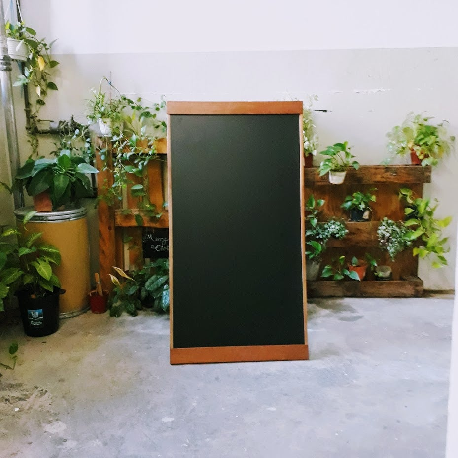 Image of Single Sided Standing Chalkboard with Broad and Narrow Border