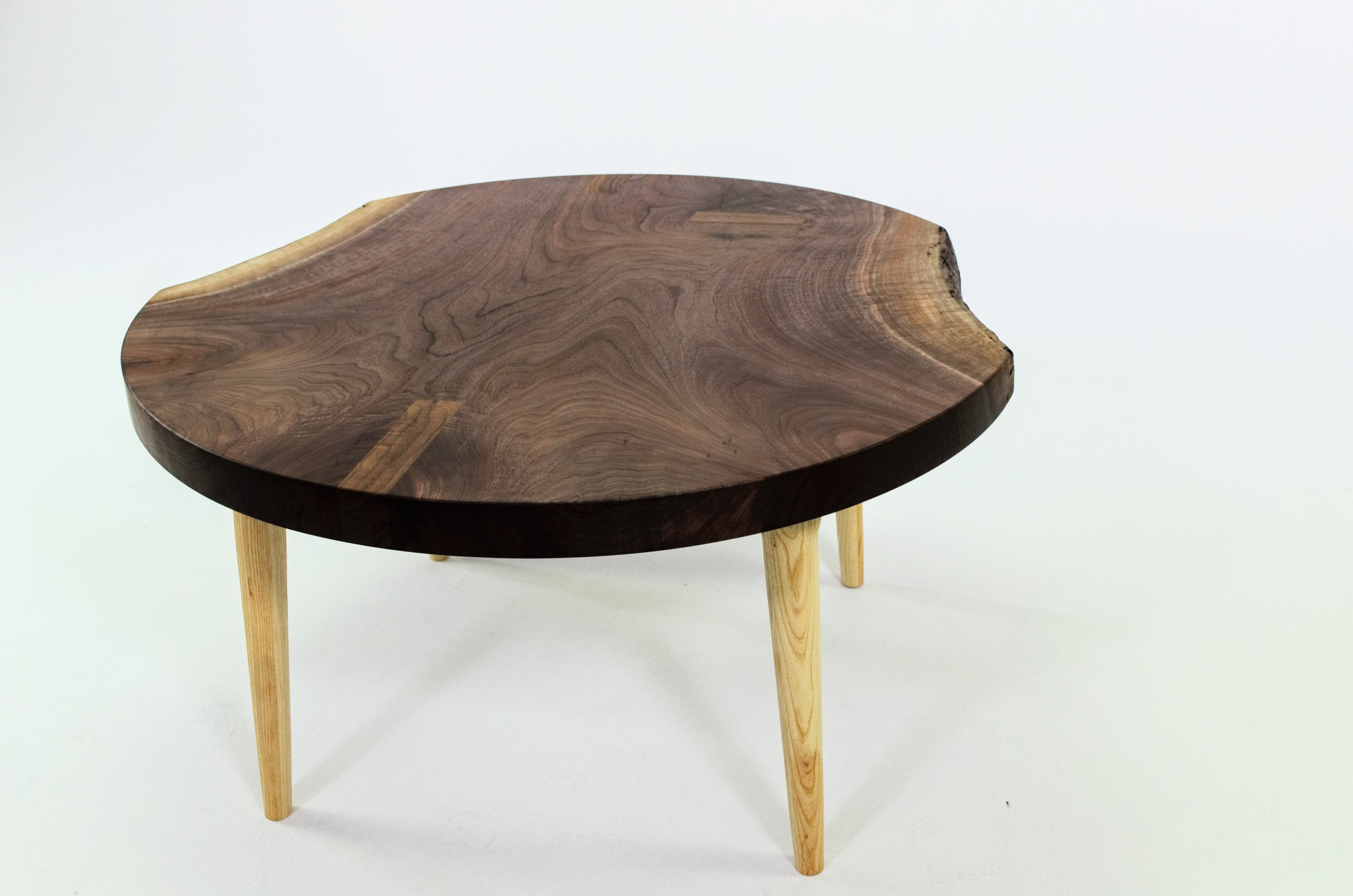 Live Edge Round Walnut Coffee Table Chestnut Pines Woodworking
