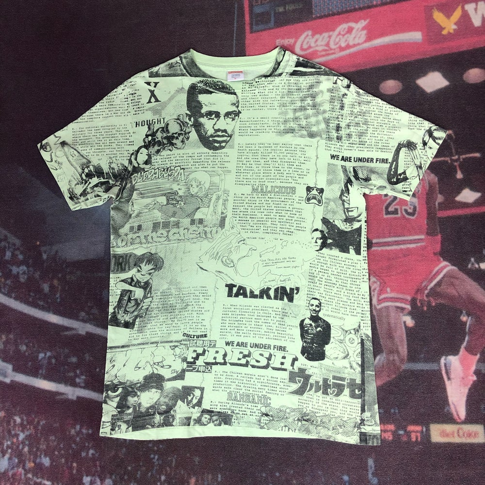 Image of Supreme Malcolm X Newspaper Tee - Lime Green - Size Medium