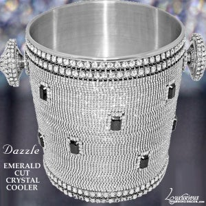 Image of Dazzzle Swarovski Crystal Champagne Cooler Wine Bucket Emerald Cut