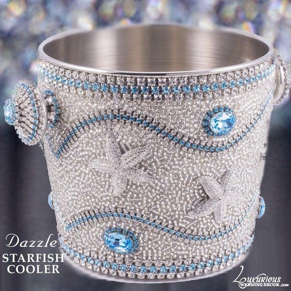 Image of Dazzle Swarovski Crystal Aqua Champagne Wine Cooler