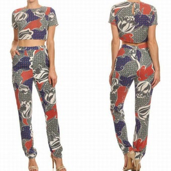 Image of Chelsea Crop Top Pants Set