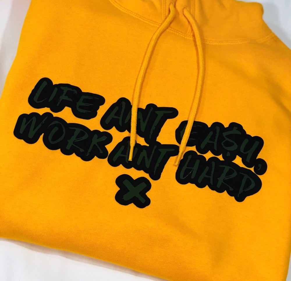 Image of Yellow Black & Olive Quoted Hoodie