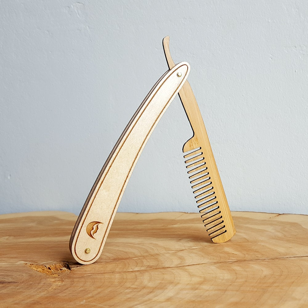 Image of Wood Straight Razor Beard Comb - Handmade and Personalized - Maple and Bamboo Hardwoods