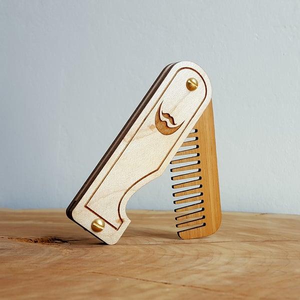 Image of Engraved Folding Wood Beard Comb - Handmade from Maple Hardwood and Bamboo