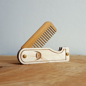 Image of Engraved Folding Wood Beard Comb - Handmade from Maple Hardwood and Bamboo