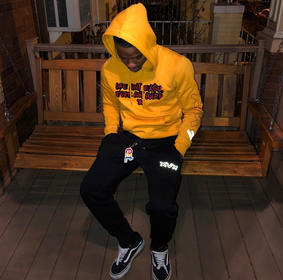 Image of Yellow Black & Red Quoted Hoodie