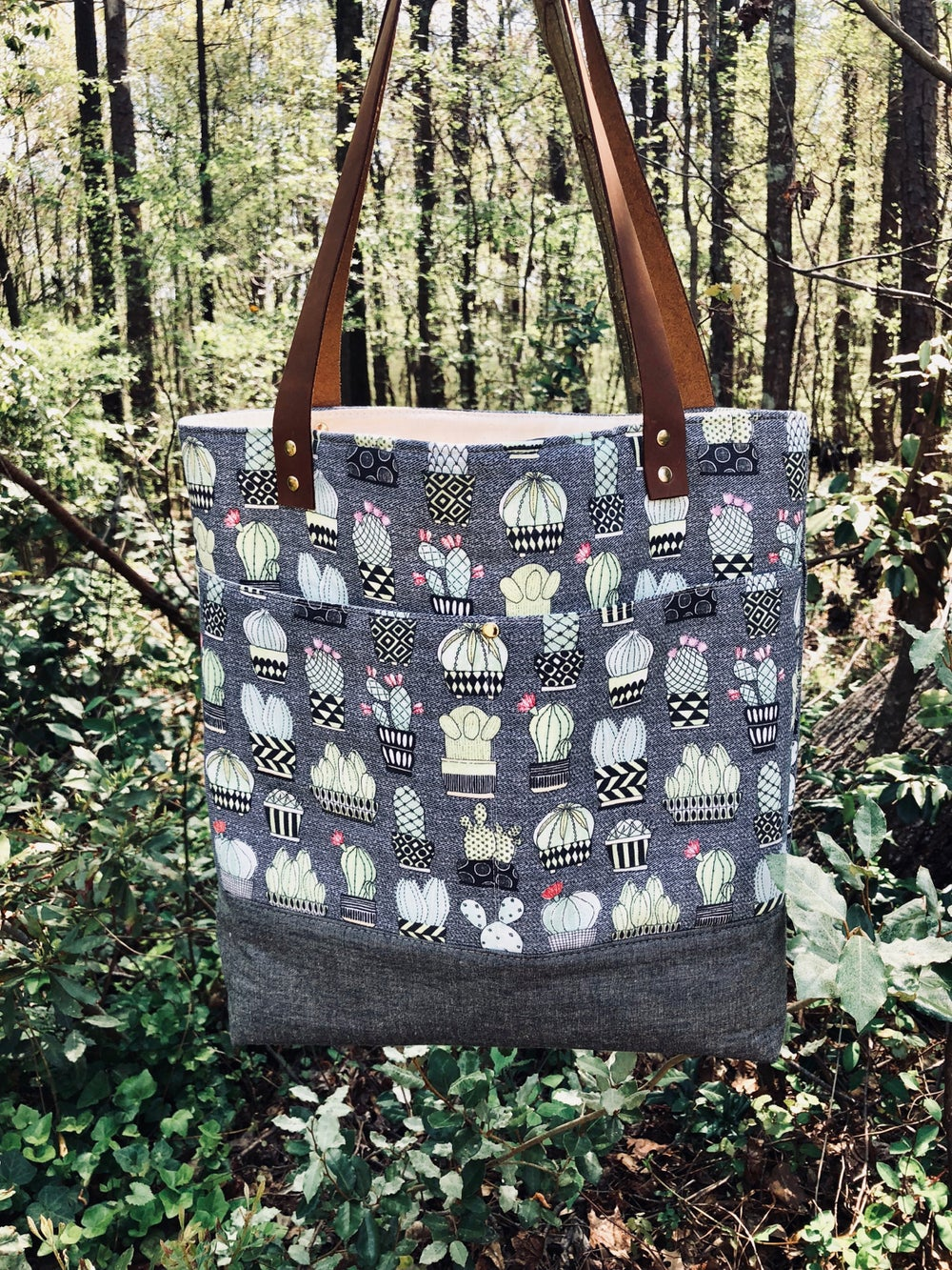 Image of Cacti Denim & Canvas Tote Bag w/ leather handles