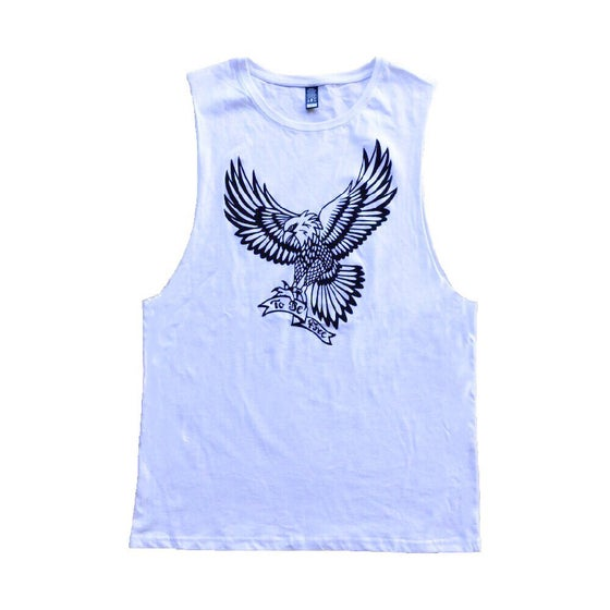 "Image of ""To Be Free"" white muscle tee"