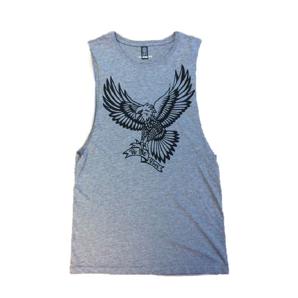 "Image of ""To Be Free"" grey muscle tee"