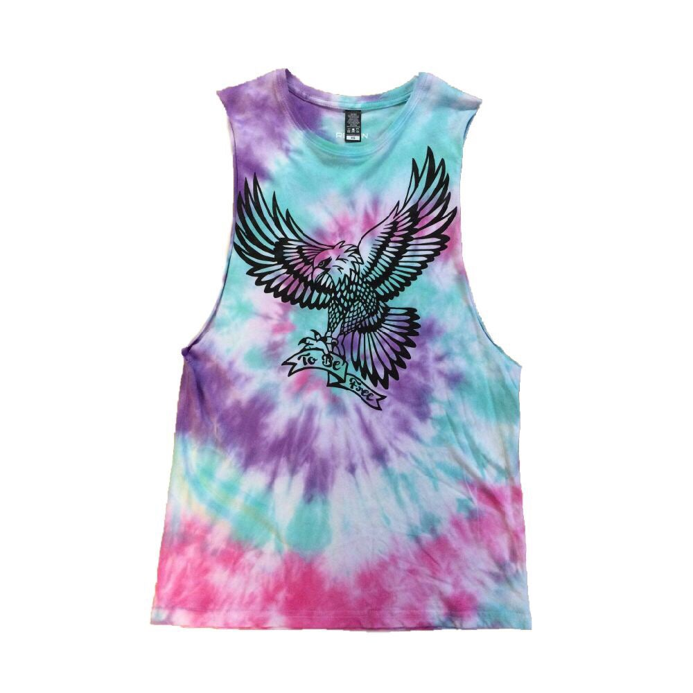 "Image of ""To Be Free"" tie-dye muscle tee (unisex)"