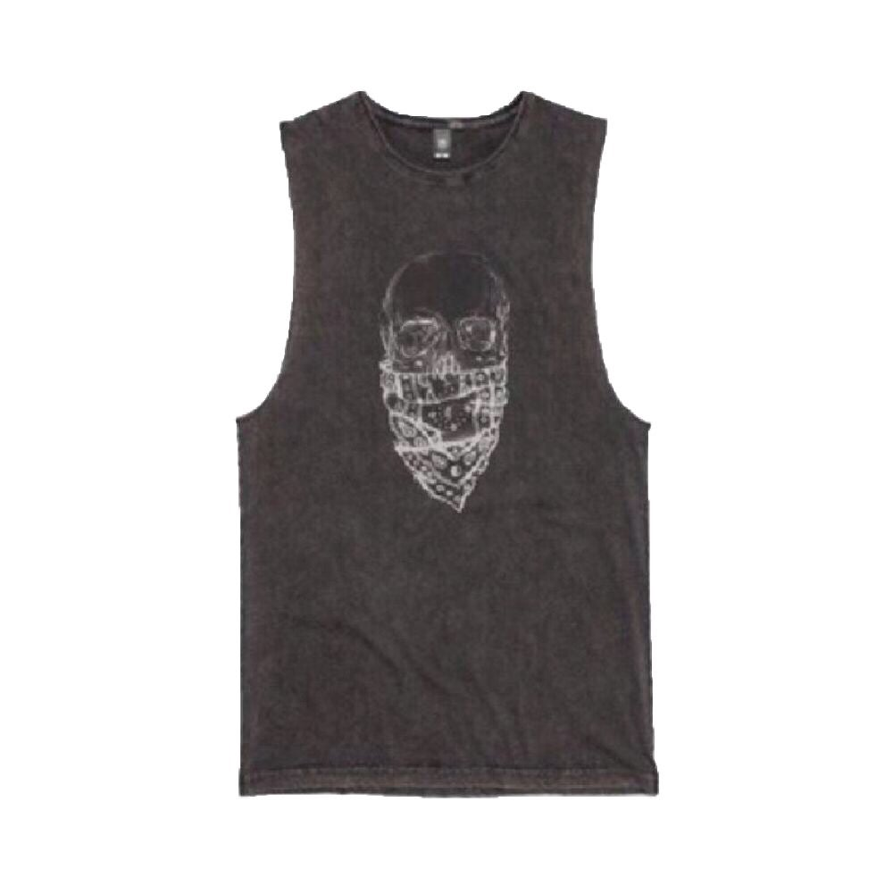 Image of Skull Bandana Black Acid Wash Muscle Tee