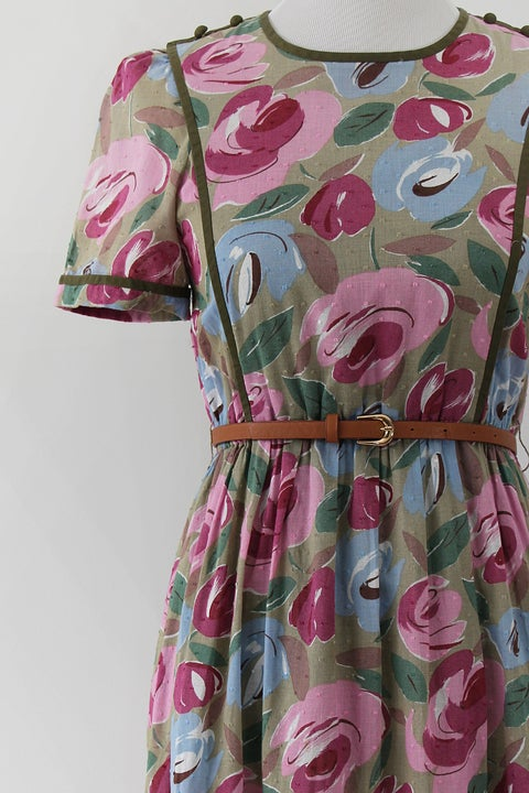 Image of Green On Flowers Dress