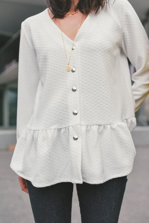 """Image of BLOUSE ANGELINA SWEAT - BLANC <p><span style=""""background-color: #f0c2d9;"""">-20%</span></p>"""