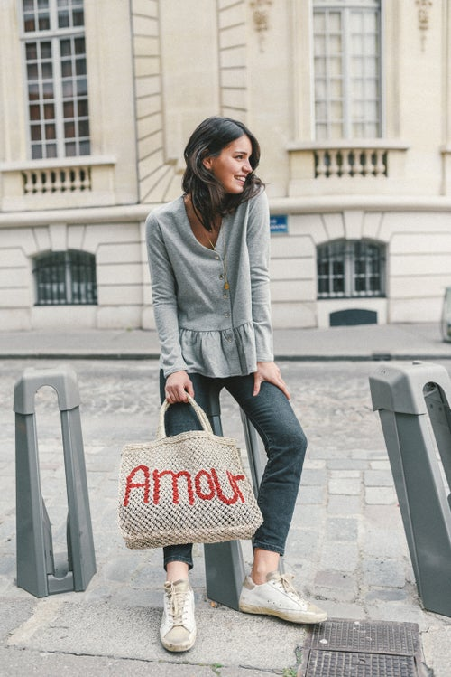 Image of BLOUSE ANGELINA SWEAT - GRIS CHINE