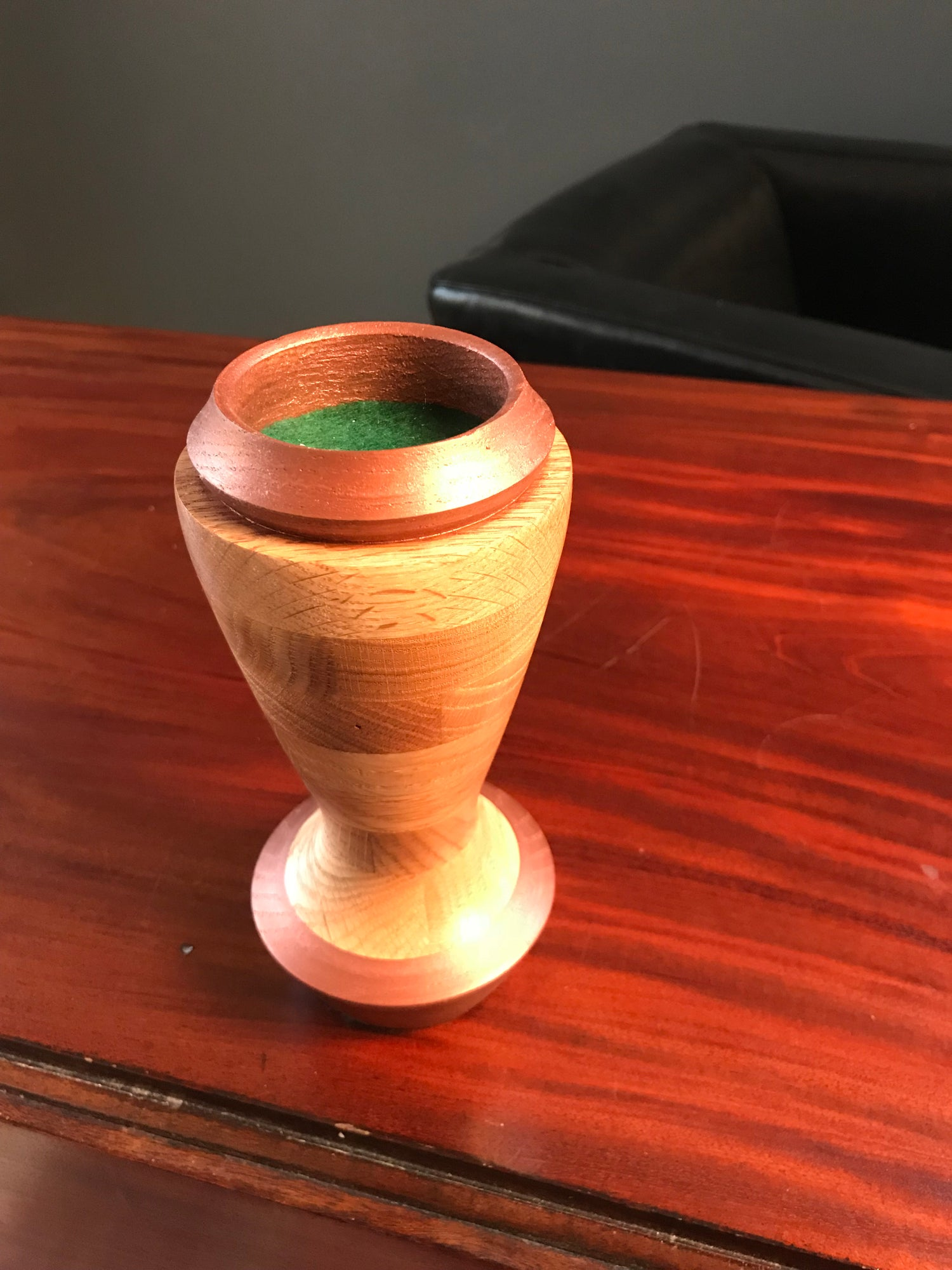 Image of Turned Oak Wood Votive Holder With Stain