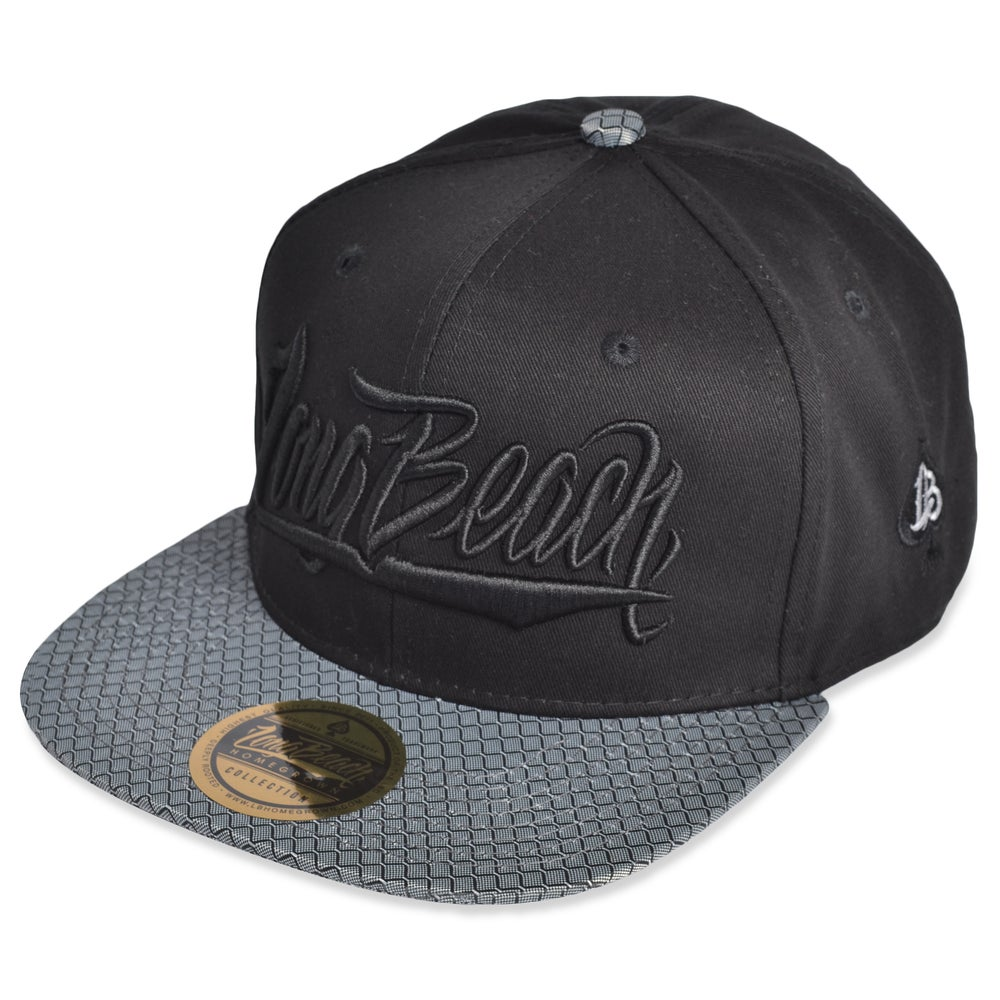Image of LONG BEACH SCRIPT BLACK/ SLIVER LINK SNAPBACK