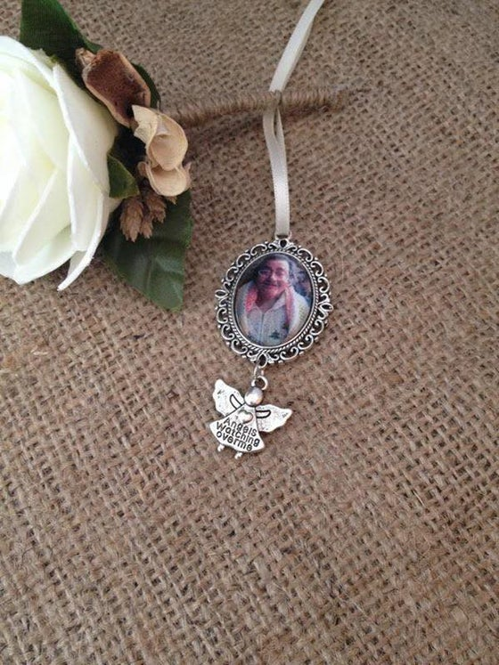 Image of Angel watching over me bouquet charm with ribbon to attach
