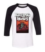 "Image of Rolling Heavy Magazine ""Issue 14"" Baseball Tee with art by Nate Greco."