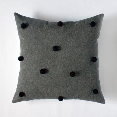 Image of charcoal & black pom pom cushion cover