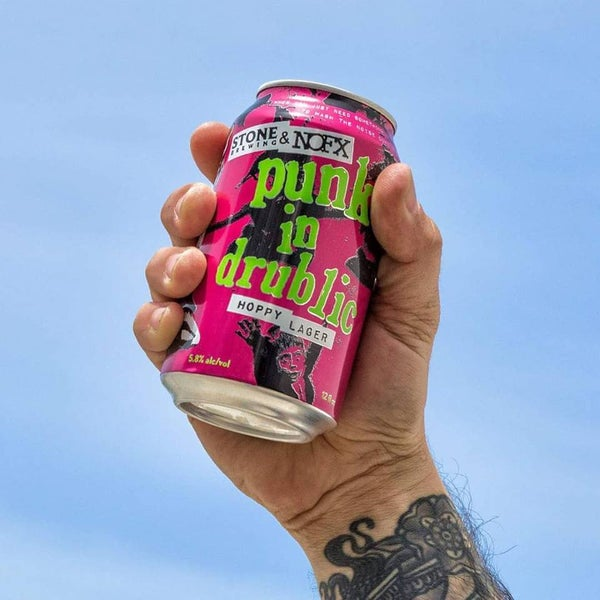 "Image of 24 x 355ml NOFX & Stone Brewing ""Punk In Drublic"" Hoppy Lager Cans"