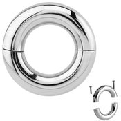 Image of Large Gauge Heavy Steel Smooth Segment Ring  - Tribal Dream Prince Albert Piercing - 7mm - 15mm