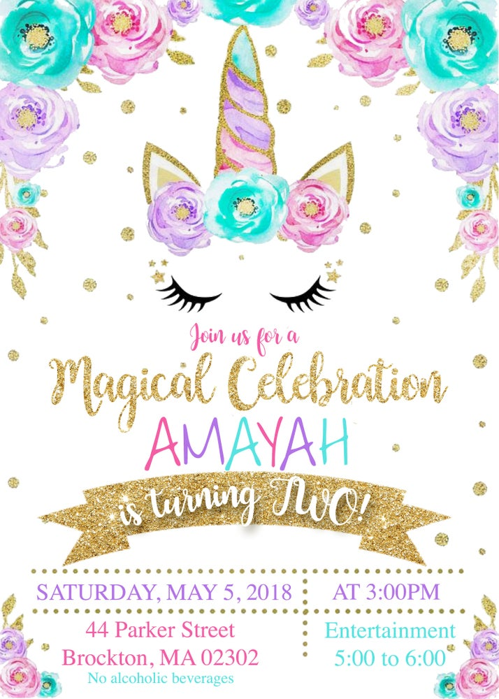 Image of Floral Unicorn Birthday Invitation