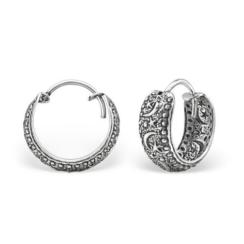 Image of Sterling Silver Celestial Sky Hoops