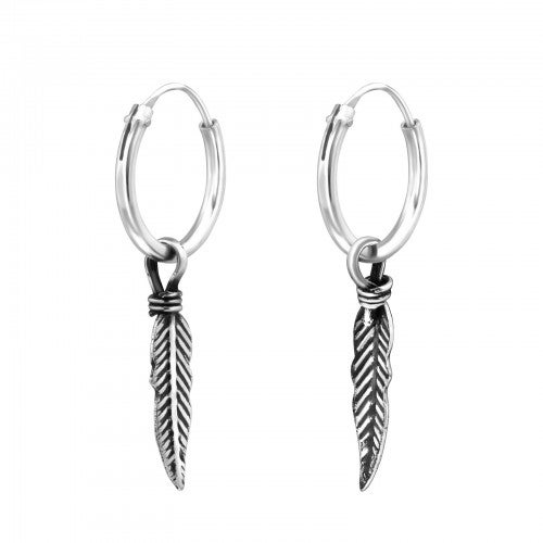 Image of Sterling Silver Feather Hoops