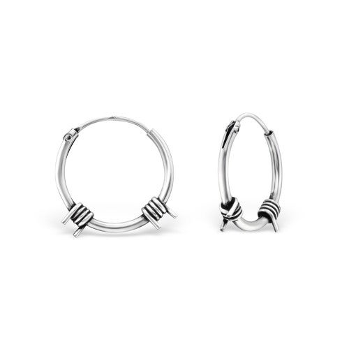 Image of Sterling Silver Barbed Wire Hoops
