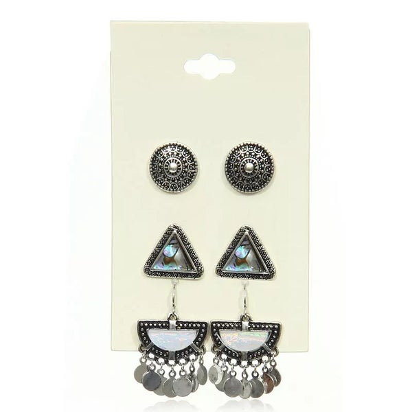 Image of Vintage Shell and Metal 3 earring set