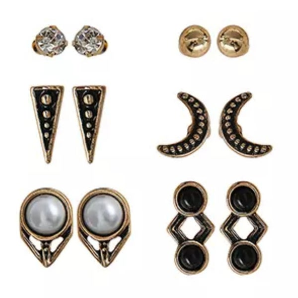 Image of Vintage geometric 6pc stud earring set
